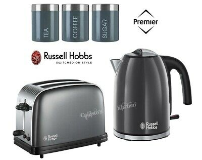 Grey Russell Hobbs Colours Plus Kettle and Toaster Set With Canisters - New