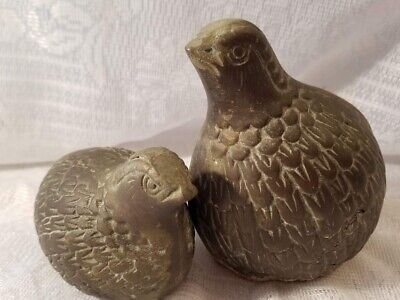 Vintage Pair Of Brass Quail Figurines/Paperweights