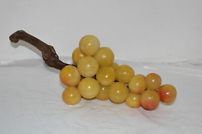 Vintage Retro Mcm Yellow/Orange Acrylic Lucite Grape Cluster W/Driftwood