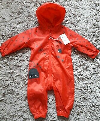 Mothercare Baby Girls Puddlesuit Age 6/9 Months Hooded New Bnwt Ladybird Bugs