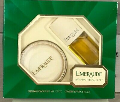Vintage Emeraude Set Perfume Spray Cologne & Dusting Powder NEW