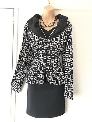 Joseph Ribkoff Black/white Silver Sequins Ruffle Details Top/jacket Size 16