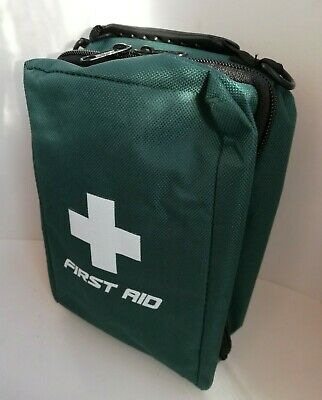 EMPTY FIRST AID KIT BAG WITH COMPARTMENTS - LARGE - GREEN - 19cm x 14cm x 8cm