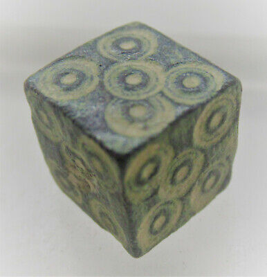 Very Nice Ancient Roman Bronze Cubic Gaming Piece With Ring And Dot Motifs