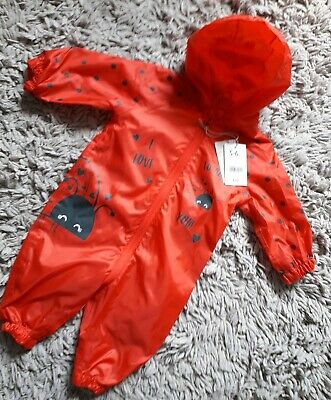 Mothercare Baby Girls Puddlesuit Age 3/6 Months Hooded New Bnwt Ladybird Bugs