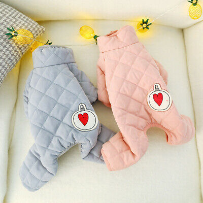Warm Cat Dog Jumpsuit Padded Small Pet Clothes Outfit Winter Poodle Apparel 2019