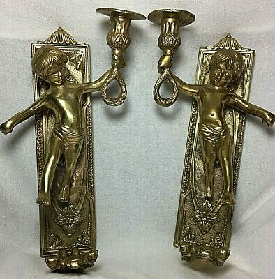 Antique Vintage Solid Brass Cherub Candle Holder Wall Sconce Pair