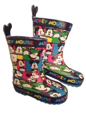 Childs Kids Disney Mickey Mouse Wellington Boots Size Uk 6 Eu 23 New With Tags