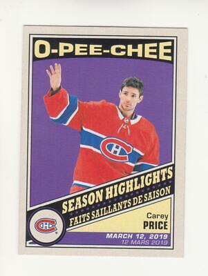 2019-20 O-Pee-Chee Carey Price Season Highlights Retro Card # 600 (19-20) OPC