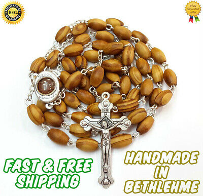 Catholic Rosary Necklace Olive Wood Beads Jerusalem handmade in Bethlehem