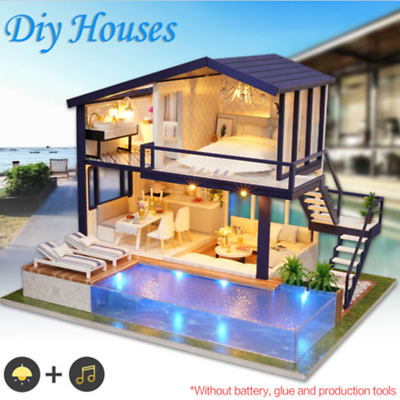 AU DIY LED Music Dollhouse Miniature Wooden Furniture Kits Doll House Xmas Gift