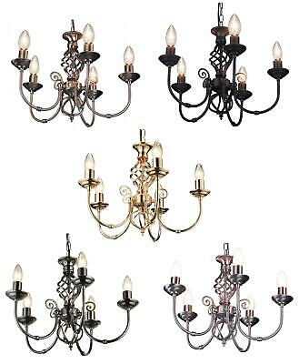 Classic Country Chandelier Barley Twist 5 Arm Ceiling Pendant Light Fitting