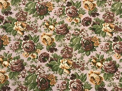 "1/2 YD Vintage Floral Rose BTHY Cotton Quilt Fabric 18"" X 44"""