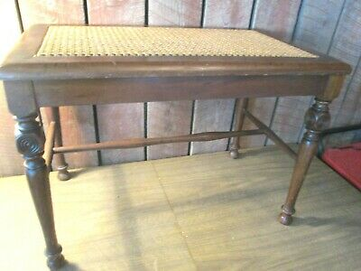 Fine Vintage Antique Bench Ottoman Foot Stool Woven Cane Rush Pdpeps Interior Chair Design Pdpepsorg