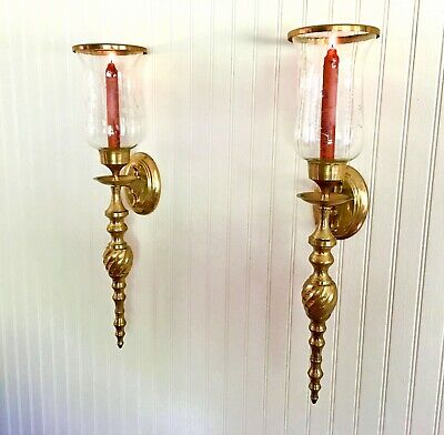 Pair Of Vintage Solid Brass Wall Sconces w/ Etched Glass Chimney - Candle Holder