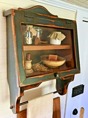 Primitive Painted Kitchen Wall Cupboard Farmhouse Cabinet Country Furniture