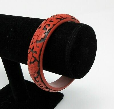 Antique Chinese Red Black CINNABAR Lacquer Carved Bangle Vintage Floral Bracelet