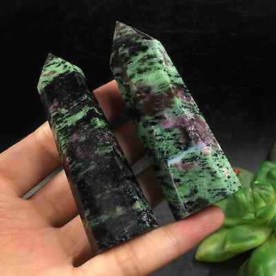 TOP-127g 2pcs Natural Ruby In Zoisite Wand Point Healing Reiki Crystal K1888