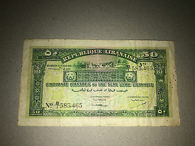 1942 LEBANON 50 PIASTRES 1st AUG1942 PICK.37 STRONG PAPER LOOK SCANS B/1 583,465