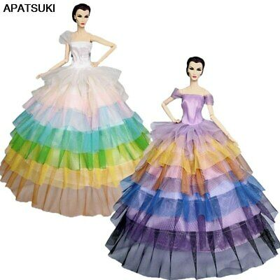 "Rainbow Fashion Doll Dress For 11.5"" Doll Outfits Evening Gown Dresses Clothes"