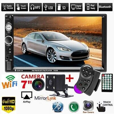 "7"" Double 2DIN Car MP5 Player Bluetooth Touch Screen Stereo Radio USB AUX Camera"