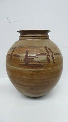 Vintage Australian Pottery Studio Ceramic Vase  Signed To Base Nora G ?