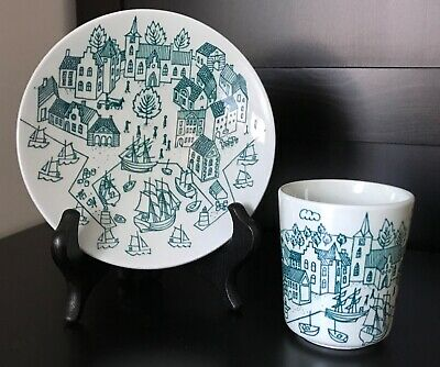Vintage Green Danish Plate / Saucer and Cup Set Nymolle by Paul Hoyrup with Scan