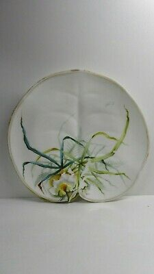 Antique George Jones Majolica Pottery Embossed Leaf Water Lily Hand Paint Plate