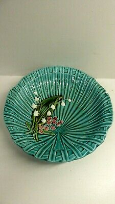 Antique German Majolica Pottery Plate Bowl Painted Lily The Valley Marie Louise