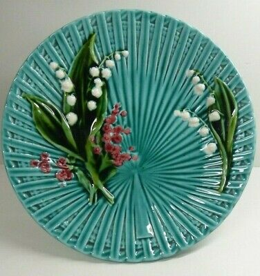 Antique German Majolica Pottery Comport Painted Lily Of The Valley Marie Louise