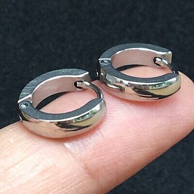 13mm Ring Circle Tiny Hoop Earrings Round Silver Huggie Men's Women's Solid Punk