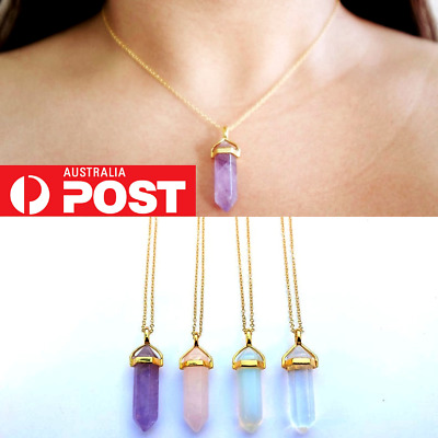 Crystal Quartz Pendant Chakra Gemstone Gold Chain Necklace Opalite Amethyst Rose