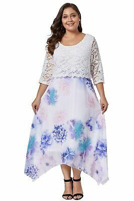 Azura Exchange White Plus Size Floral Dress With Lace Overlay