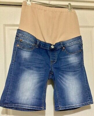 Jeanswest: Washed Blue denim maternity shorts with tummy band Size 8 or XS