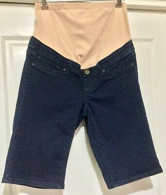 Jeanswest: Blue Dark denim maternity shorts with tummy band Size 8 or XS