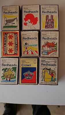 9 Vintage Redheads Outer Matchboxes