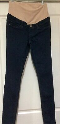 Jeanswest: Blue dark denim skinny maternity jeans with tummy band Size 8 or XS