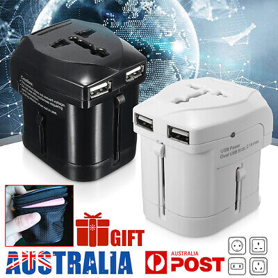 Universal World Travel Adapter AC Power Dual USB Charger To AU EUROPE USA UK New