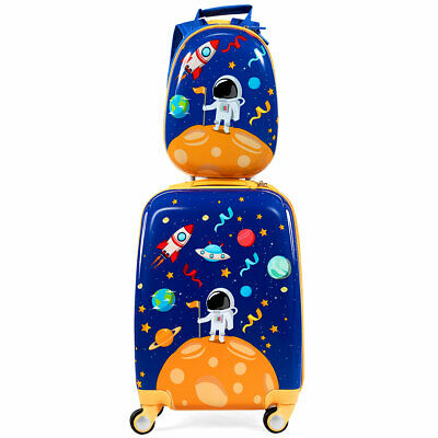 2PC Kids Luggage Set 18'' Rolling Suitcase &  12'' Backpack Travel ABS Spaceman