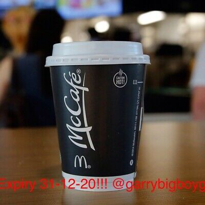 600 McDonalds Coffee White Bean Stickers Hot Drinks -  VALID TO 31/12/20