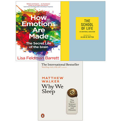 The School of Life, Why We Sleep, How Emotions Are Made 3 Books Collection Set