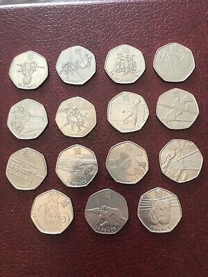15 Olympics 50p Coins ALL DIFFERENT 2012 London Very Rare UK Coin Hunt
