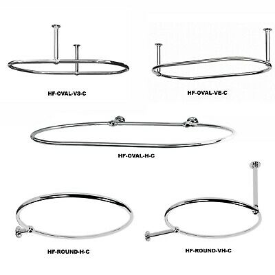 Hot-Flow | Traditional Oval & Round Luxury Victorian Chrome Shower Curtain Rail