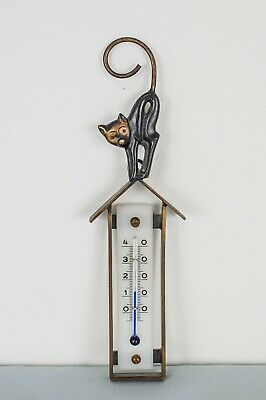 Cat Figurine on House Roof, Hanging Thermometer by Walter Bosse