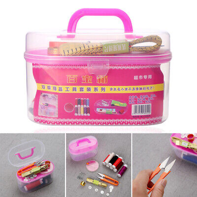 Portable Sewing Kit Box Emergency Travel Needles and Thread Scissors Buttons Pin