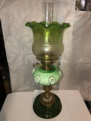Antique Victorian Oil Lamp With Acid Etched Green Shade