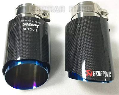 "BLUE x2 UNIVERSAL AKRAPOVIC STYLE 3.5"" GLOSS CARBON EXHAUST TIP/TAILPIPE STEEL"
