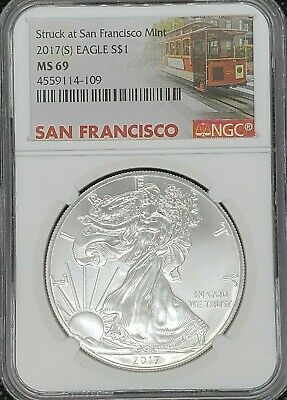 2017 S Silver American Eagle NGC MS69 Rare San Francisco Mint Trolley Label