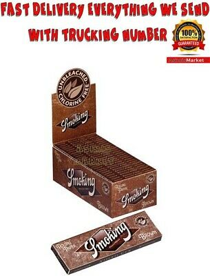 SMOKING BROWN Rolling Papers Full Box 50 Booklets Regular Size unbleached