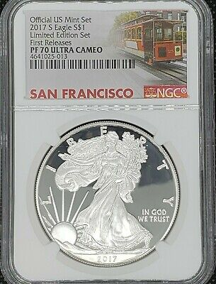 2017 S Silver American Eagle NGC PF70UC Limited Edition Set Trolley First Releas